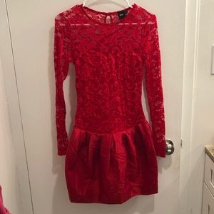 Asos red lace bell dress